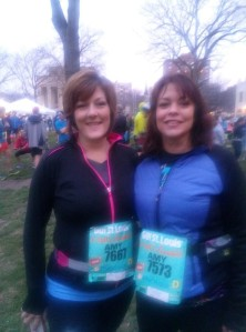Amy and I before the GO! Half Marathon 4-6-14.