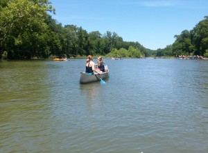 Emily and Erin on the float...they were the only ones who didn't get tipped by the boater!