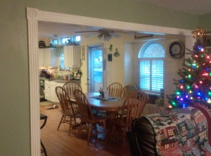 The new view from the living room into the kitchen.